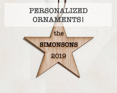 Personalized Ornament | Star | Custom Rustic Wood | Christmas Love | Etched | Laser Cut | Holiday Gift