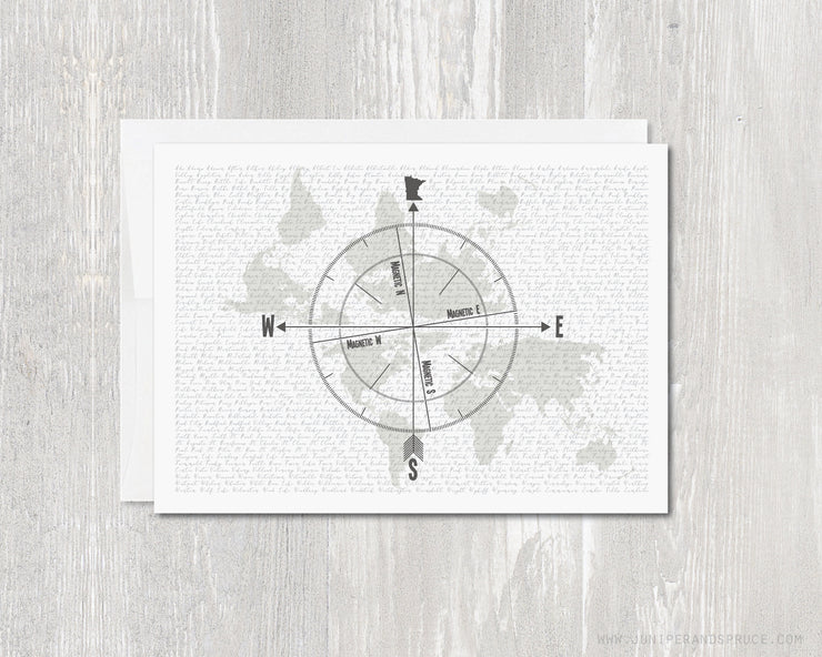 Greeting Card - Minnesota Compass Rose