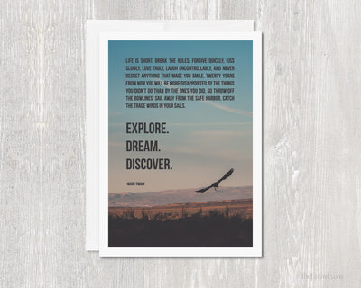 Greeting Card Explore Dream Discover | Mark Twain Adventure | Blank Note Card Travel