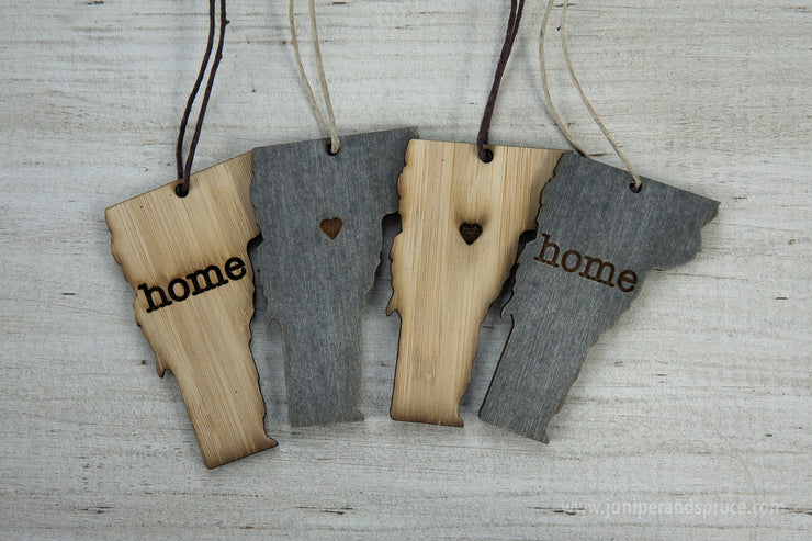 Vermont Outline Ornament | Rustic Wood | Heart Home | Vermont Love | Etched | Laser Cut