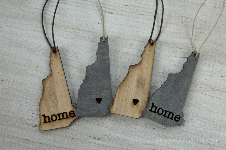 New Hampshire Outline Ornament | Rustic Wood | Heart Home | New Hampshire Love | Etched | Laser Cut