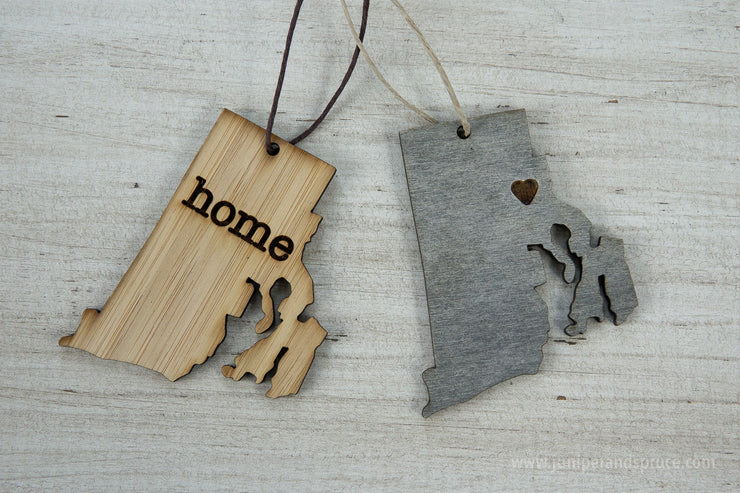 Rhode Island Outline Ornament | Rustic Wood | Heart Home | Rhode Island Love | Etched | Laser Cut