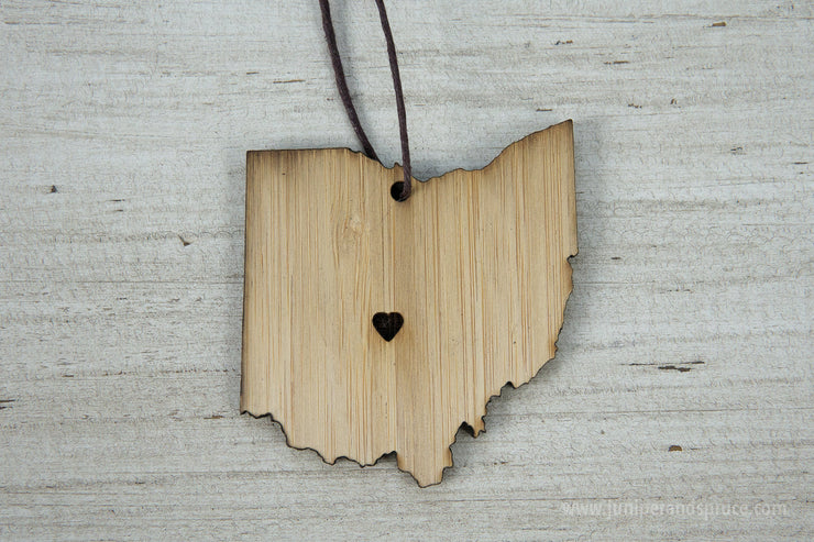 Ohio Outline Ornament | Rustic Wood | Heart Home | Ohio Love | Etched | Laser Cut