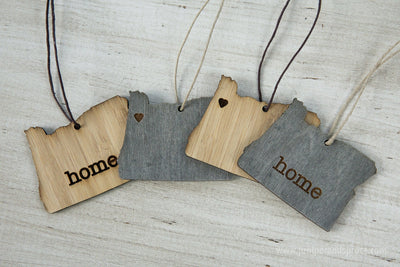 Oregon Outline Ornament | Rustic Wood | Heart Home | Oregon Love | Etched | Laser Cut