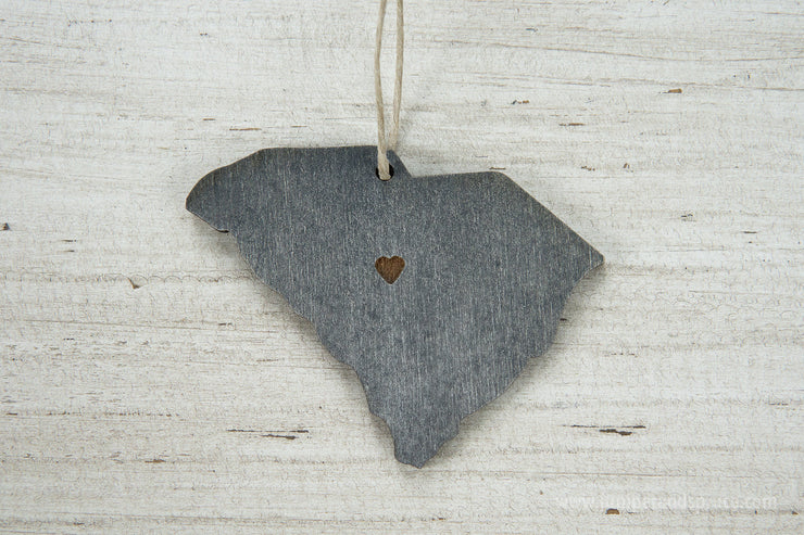 South Carolina Outline Ornament | Rustic Wood | Heart Home | South Carolina Love | Etched | Laser Cut