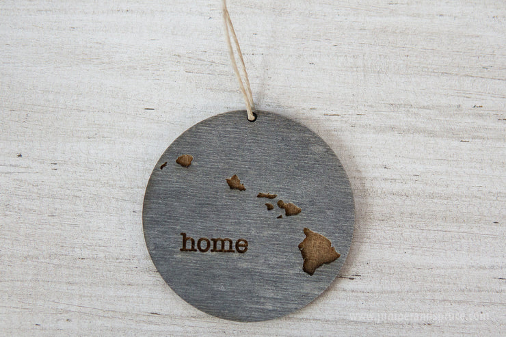 Hawaii Ornament | Rustic Wood | Home | Hawaii Home | Etched | Laser Cut