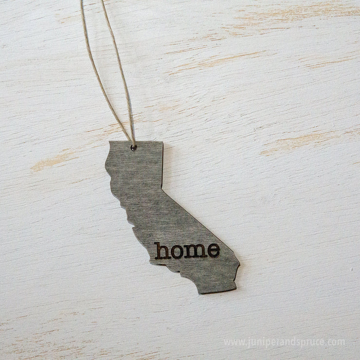 California Outline Ornament | Rustic Wood | Heart Home | California Love | Etched | Laser Cut