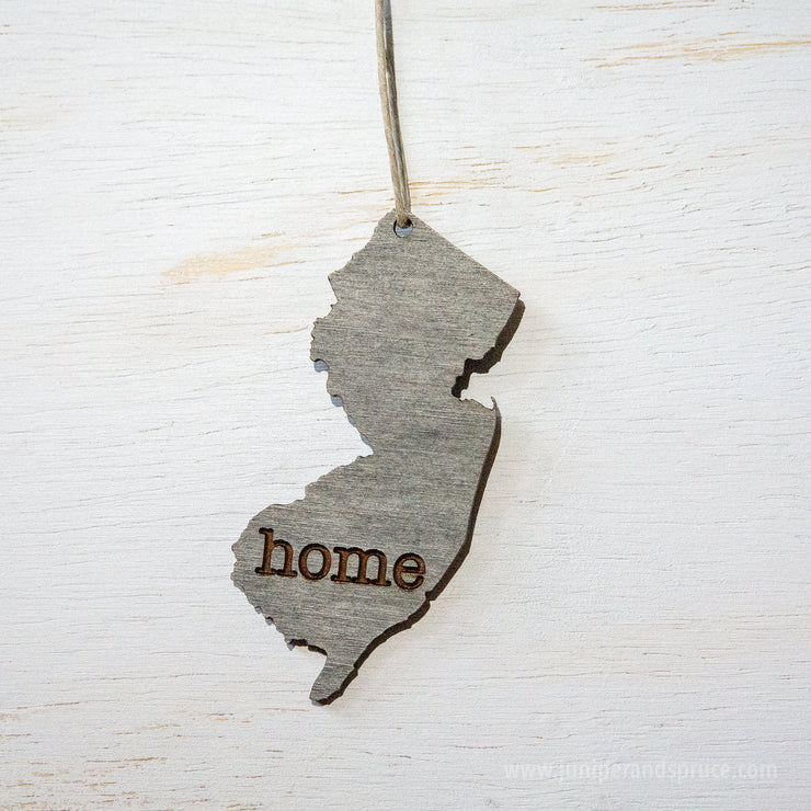 New Jersey Outline Ornament | Rustic Wood | Heart Home | New Jersey Love | Etched | Laser Cut