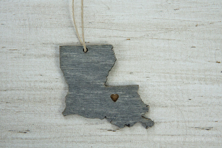 Louisiana Outline Ornament | Rustic Wood | Heart Home | Louisiana Love | Etched | Laser Cut