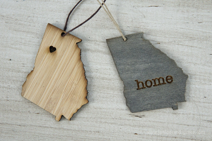 Georgia Outline Ornament | Rustic Wood | Heart Home | Georgia Love | Etched | Laser Cut