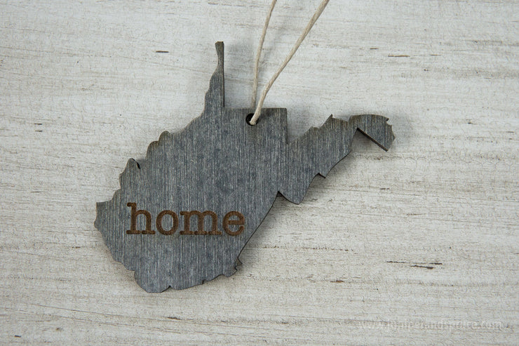 West Virginia Outline Ornament | Rustic Wood | Heart Home | West Virginia Love | Etched | Laser Cut
