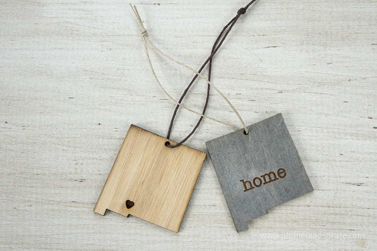 New Mexico Outline Ornament | Rustic Wood | Heart Home | New Mexico Love | Etched | Laser Cut