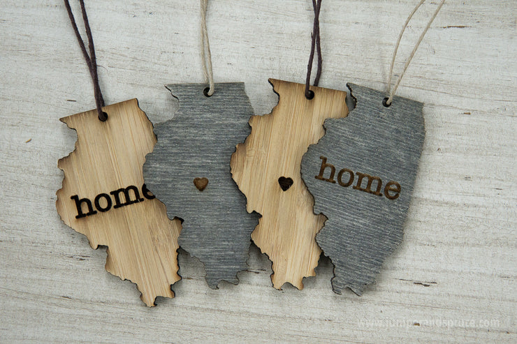 Illinois Outline Ornament | Rustic Wood | Heart Home | Illinois Love | Etched | Laser Cut