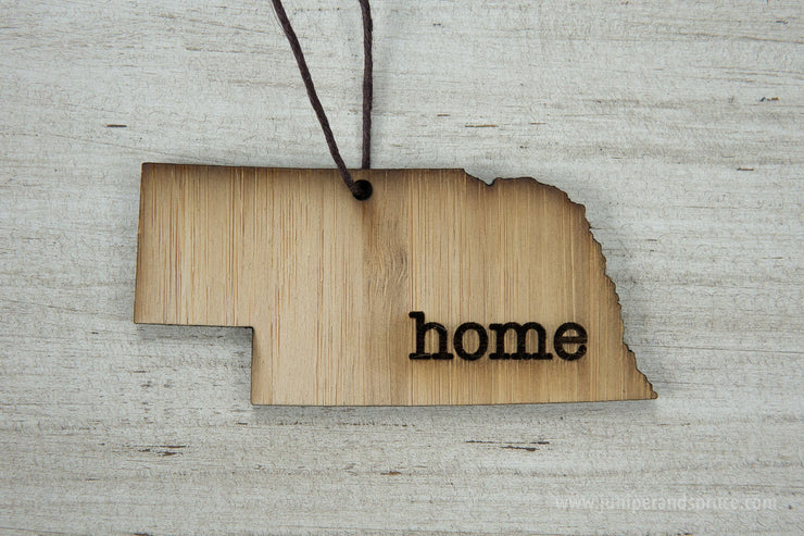 Nebraska Outline Ornament | Rustic Wood | Heart Home | Nebraska Love | Etched | Laser Cut