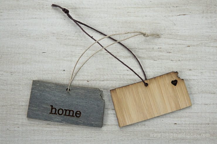 Kansas Outline Ornament | Rustic Wood | Heart Home | Kansas Love | Etched | Laser Cut