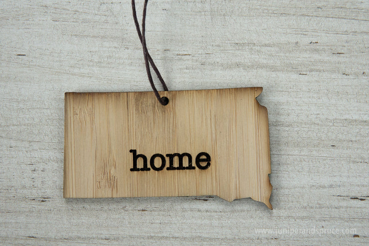 South Dakota Outline Ornament | Rustic Wood | Heart Home | South Dakota Love | Etched | Laser Cut