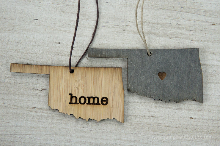 Oklahoma Outline Ornament | Rustic Wood | Heart Home | Oklahoma Love | Etched | Laser Cut