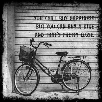 SALE - Bicycle Happiness Quote - Print