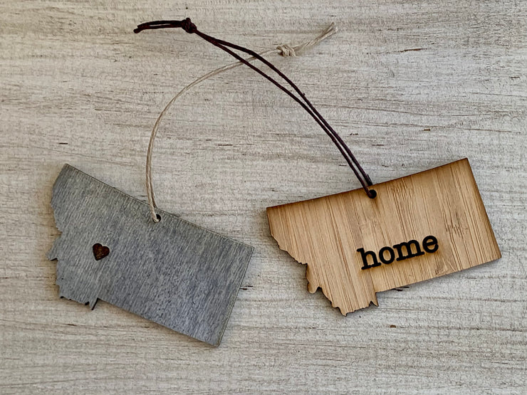 Montana Outline Ornament | Rustic Wood | Heart Home | Etched | Laser Cut