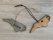 North Carolina Outline Ornament | Rustic Wood | Heart Home | Etched | Laser Cut