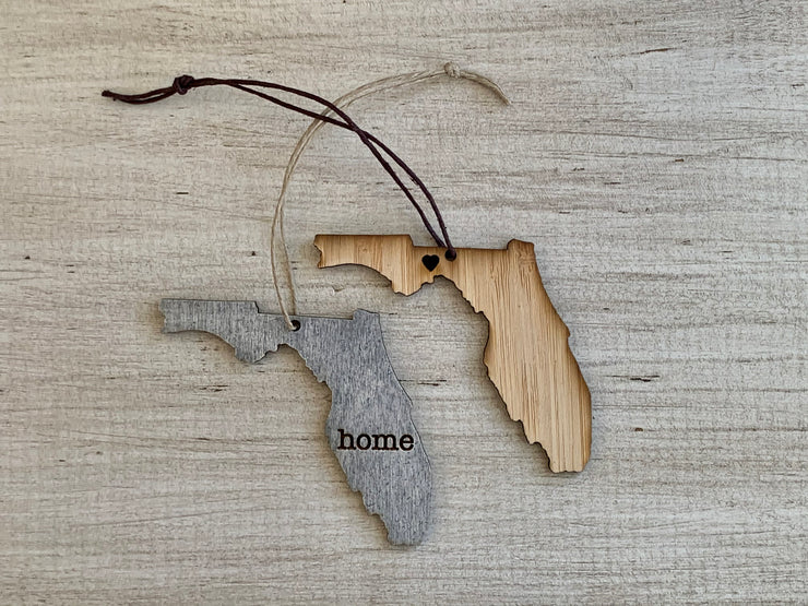 Florida Outline Ornament | Rustic Wood | Heart Home | Etched | Laser Cut
