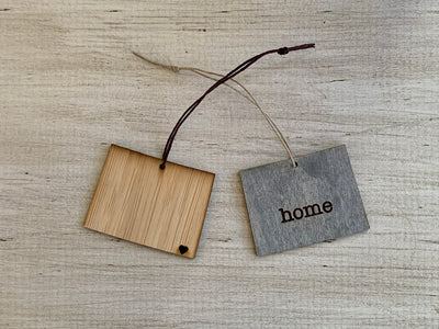 Wyoming Outline Ornament | Rustic Wood | Heart Home | Etched | Laser Cut