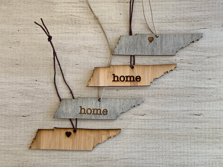 Tennessee Outline Ornament | Rustic Wood | Heart Home | Etched | Laser Cut