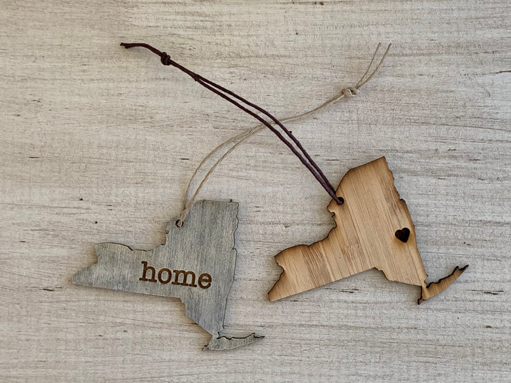 New York Outline Ornament | Rustic Wood | Heart Home | New York Love | Etched | Laser Cut