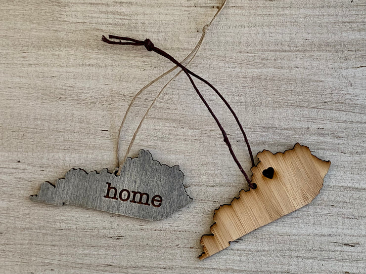 Kentucky Outline Ornament | Rustic Wood | Heart Home | Etched | Laser Cut