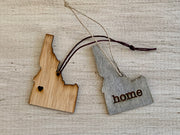 Idaho Outline Ornament | Rustic Wood | Heart Home | Etched | Laser Cut