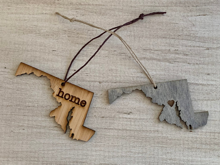 Maryland Outline Ornament | Rustic Wood | Heart Home | Etched | Laser Cut