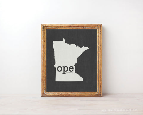 Ope (there it is) Minnesota Print - Minimalist State Outline Art
