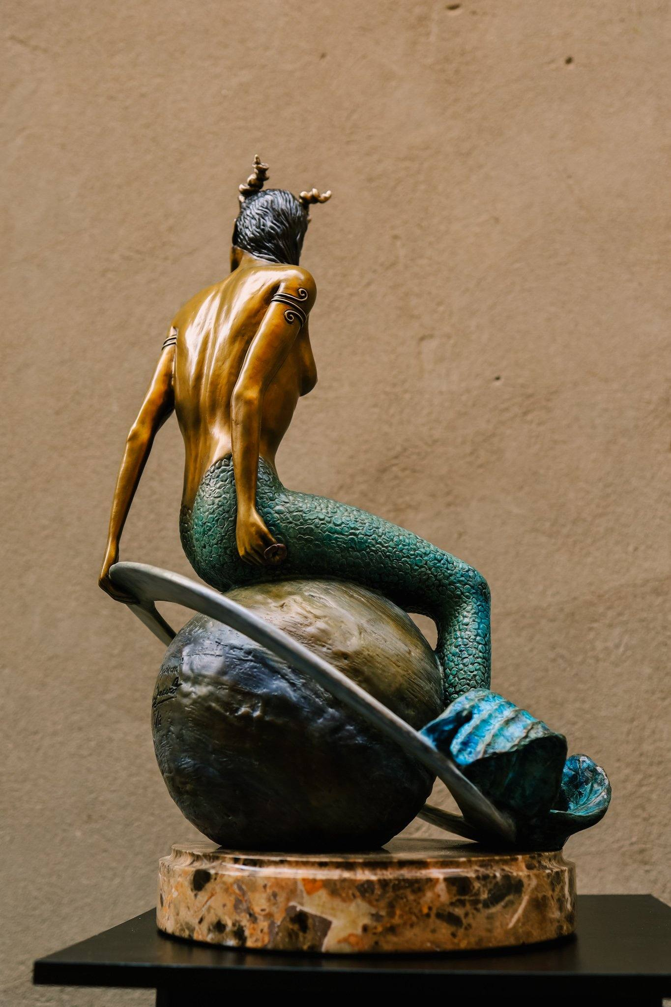 """Capricorn"" Bronze Sculpture on Brown Marble Base"