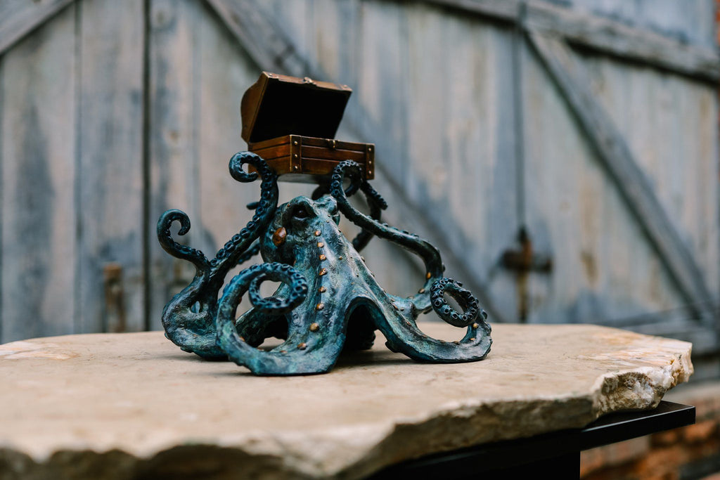 """Octopus w/ Treasure Chest"" - Bronze Sculpture"