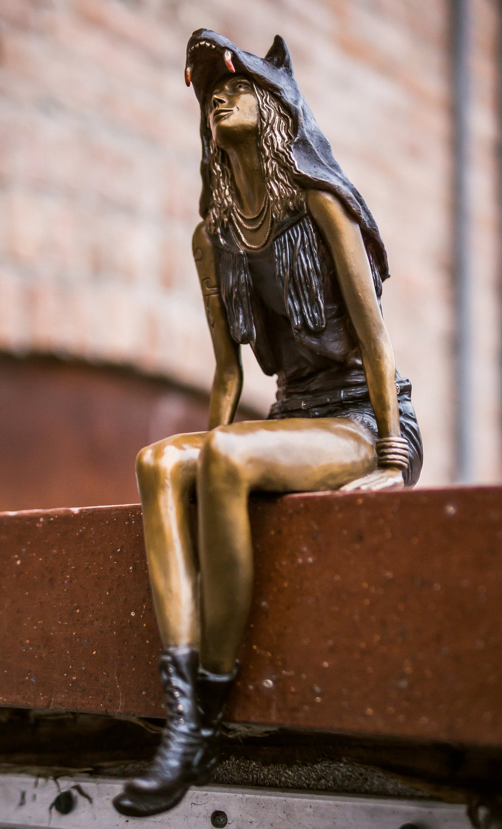 """Wolf Girl"" - Bronze Sculpture"