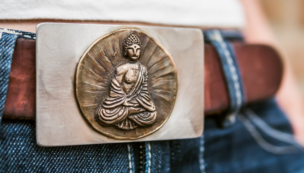 Ganesha bronze belt buckle with stainless steel back