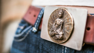 Ganesha bronze belt buckle with stainless steel back sideways