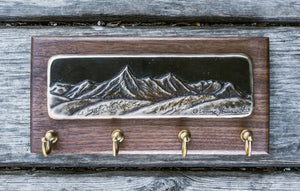 """Pilot Peak"" - Bronze Inlay on Walnut Base Key Rack"
