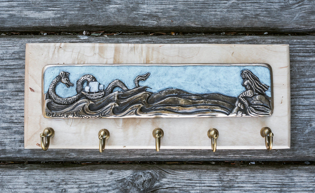 """Mermaid At Watch"" - Bronze Inlay on Wood Base"