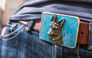 German Shepard Bronze Belt Buckle