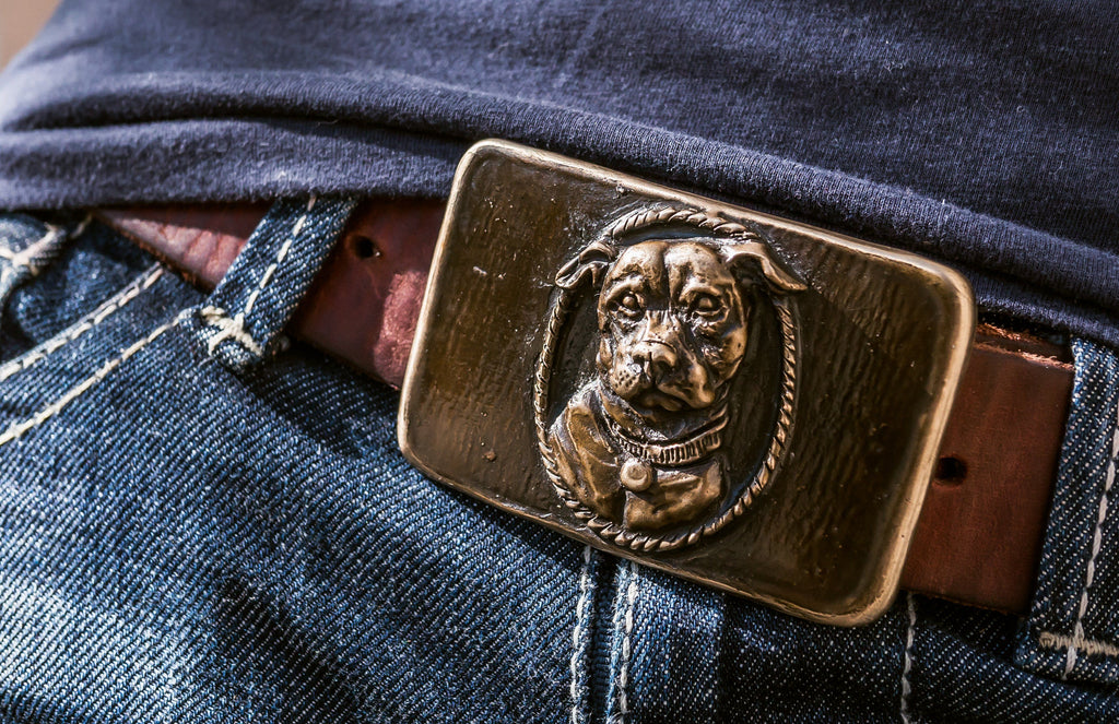 Pitbull Bronze Belt Buckle