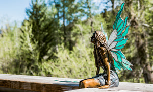 """Forest Nymph"" - Bronze Sculpture w/ Stained Glass Wings"