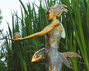 """Pisces"" - Bronze Water Goddess Sculpture on Black Marble Base"