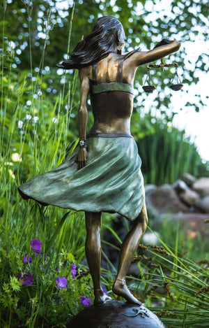 """Libra"" - Bronze Sculpture on White Marble Base"