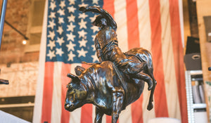 """Bull Rider"" - Bronze Bull Rider Sculpture on Walnut Base"