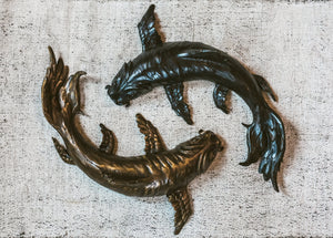 """Yin Yang Koi"" - Bronze Sculpture (Sold as Pair) - Wall Mount"