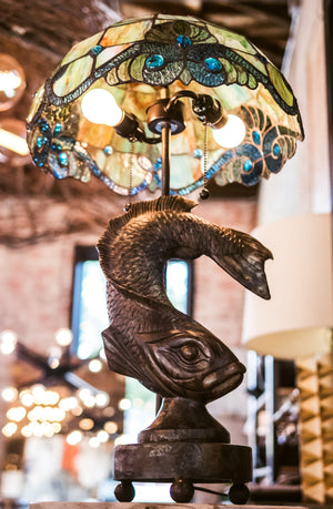 Bronze Koi Fish Lamp w/ Stained Glass Lampshade
