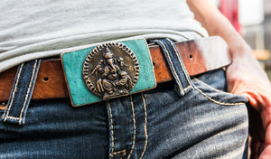 Ganesha is portrayed on this bronze belt buckle