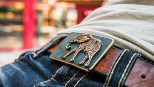 Elegant elephant bronze belt buckle