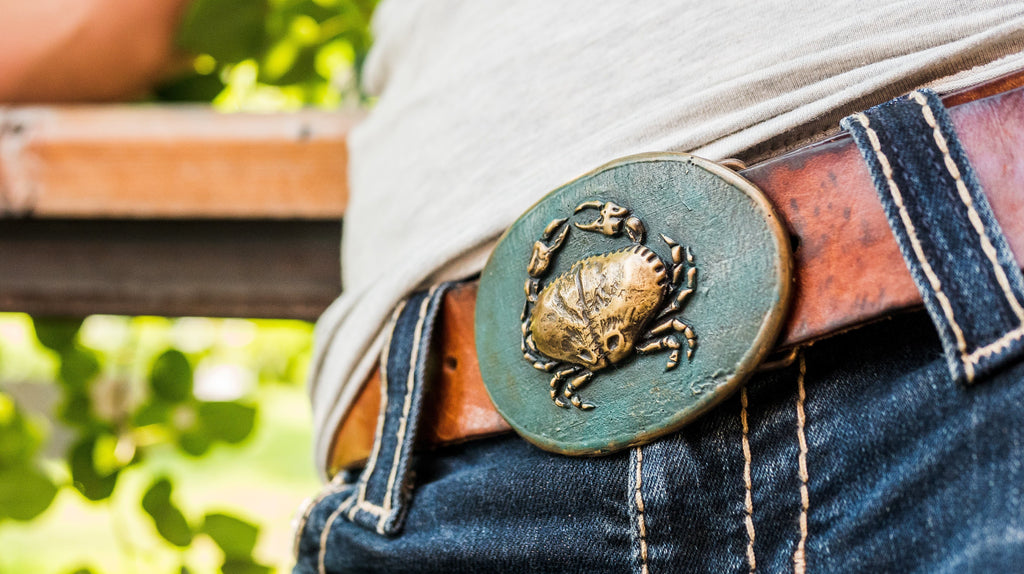 """Combative Crab"" - Bronze Belt Buckle"